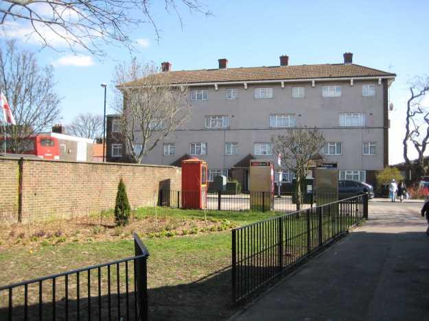 Council housing near Custom House.