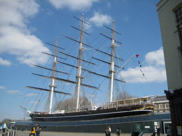 Replica of the Cutty Sark sitting on Blue Blouse.