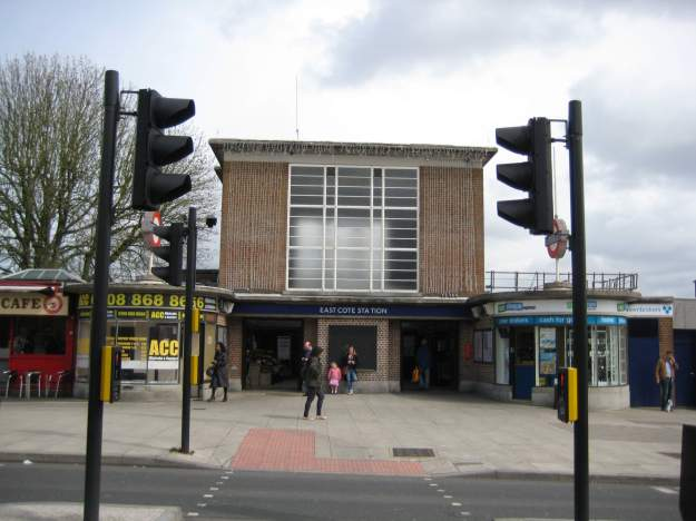 Eastcote Station - with what looks like Christmas lights.