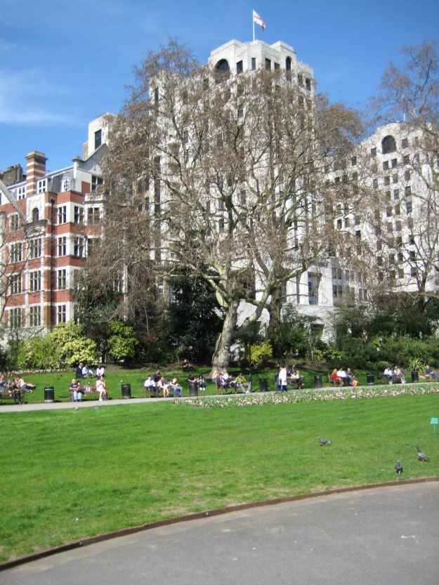 Embankment Gardens with The Savoy in the background.
