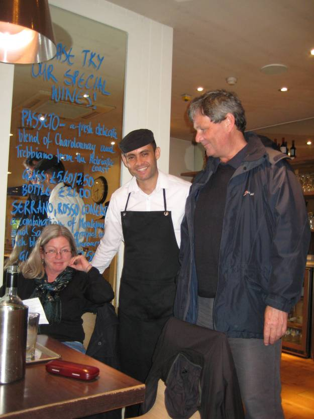 Fi (left), a young-looking Mr TubeforLOLs (aka Joao from Minas Gerais), and Andrew at Carluccio's, Hampstead.