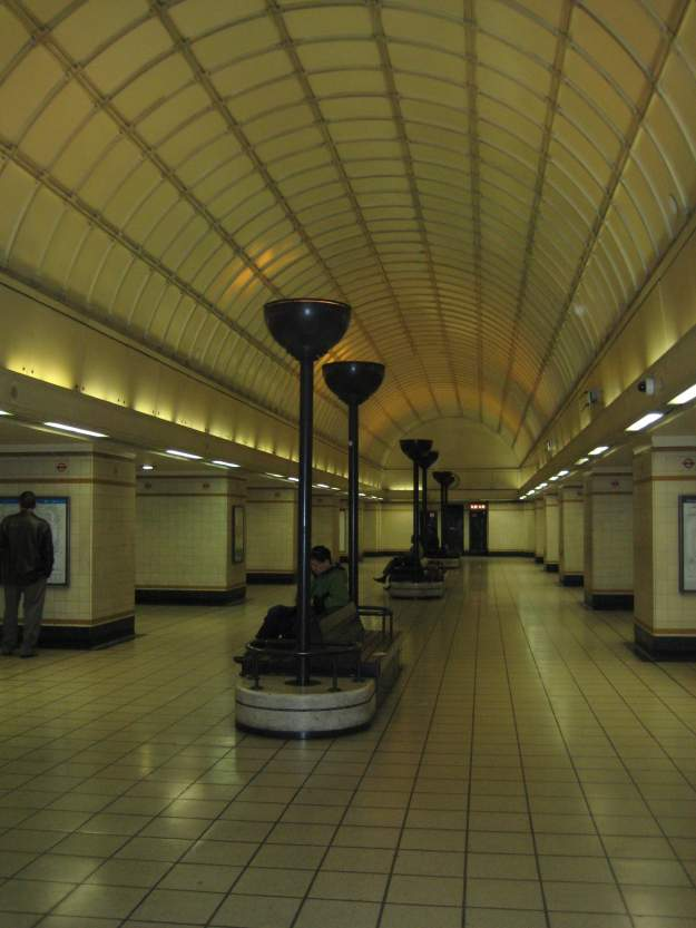 The art-something underground waiting hall at Gants Hill station. Apparently, it wouldn't fit under Piccadilly Circus, so they moved it here.