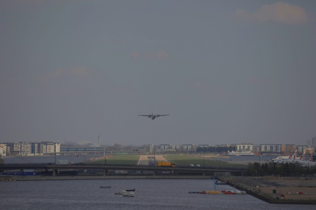 Turbo-prop taking off from London City Airport.