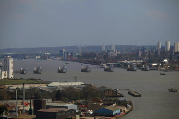 Thames Barrier with petrochemical smog.