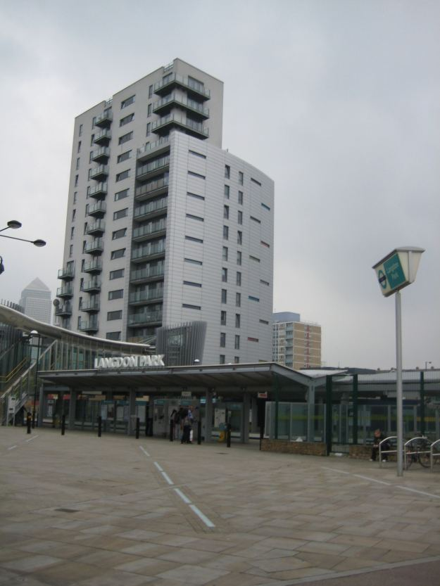 Langdon Park station with part-gallimaufry of housing behind.