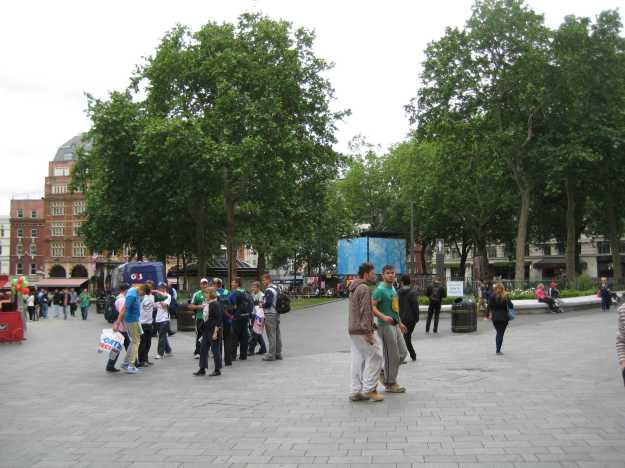 Representative view of Leicester Square. Chap in blue top on left has just stood on some gum.
