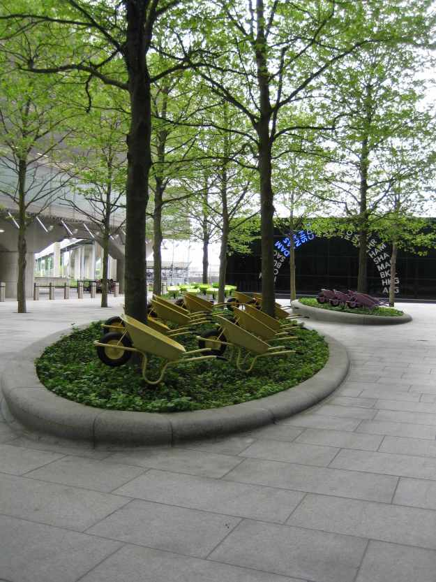 Terminal Five Courtyard: Lucy in the Sky with Wheelbarrows.