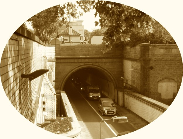 The Rotherhithe Tunnel's gaping southern maw. Note the lack of hanging baskets.
