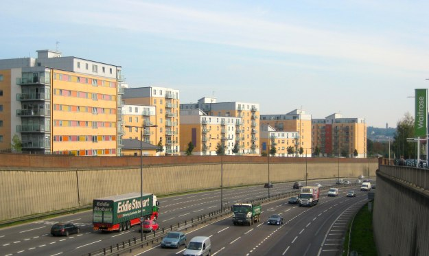 Looking north at the badlands across the North Circular from South Woodford.