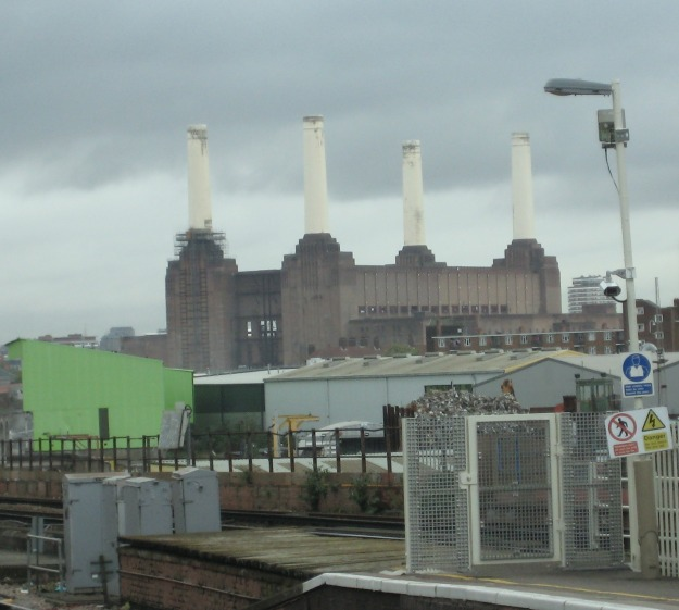 View from Wandsworth Road station over the recycling yards to Battersea Power Station.