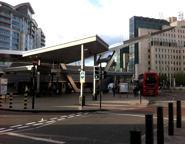 Vauxhall Cross with Transport Interchange and Spooks' Corner.