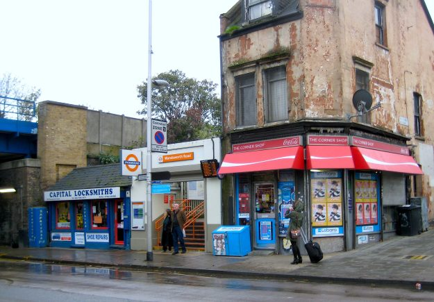 Wandsworth Road station from the other side of the road. The Corner Shop - successor to Dickens' Old Curiosity Shop?